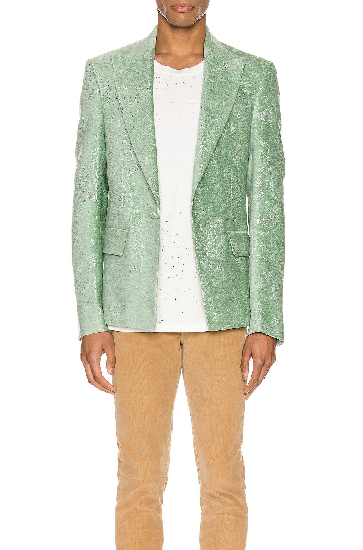 Image 1 of Amiri Paisley Velvet Glitter Blazer in Pale Lime