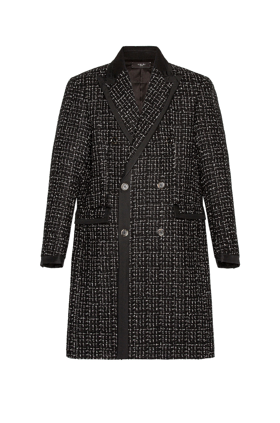 Image 1 of Amiri Boucle Long Coat in Black