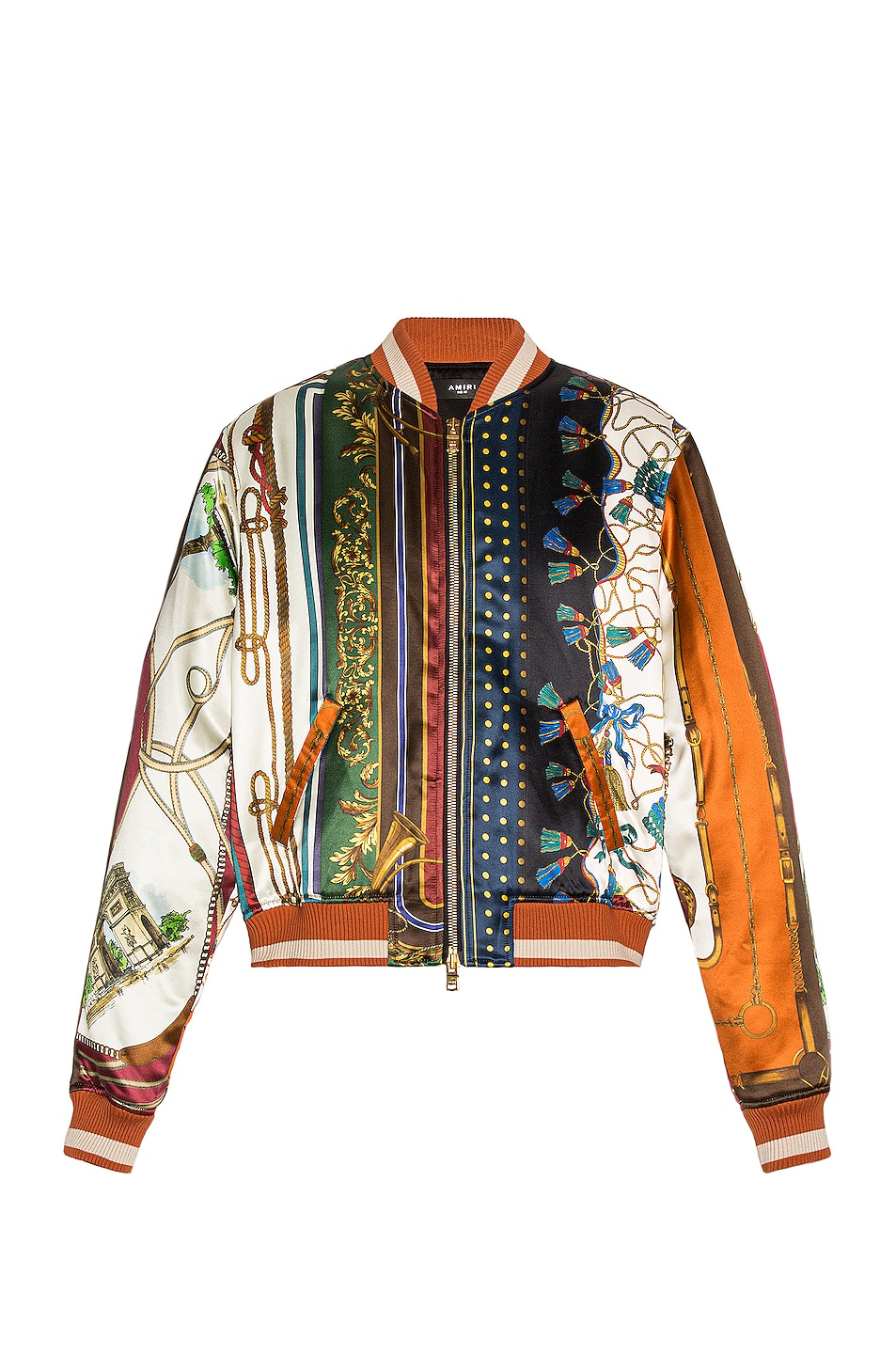 Image 1 of Amiri Scarf Patchwork Printed Bomber in Multi-Color