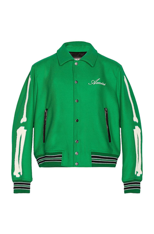 Image 1 of Amiri Bones Varsity Jacket in Tennis Green