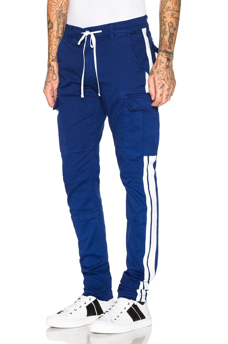 Image 1 of Amiri Stack Track Cargo Pants in Royal Blue