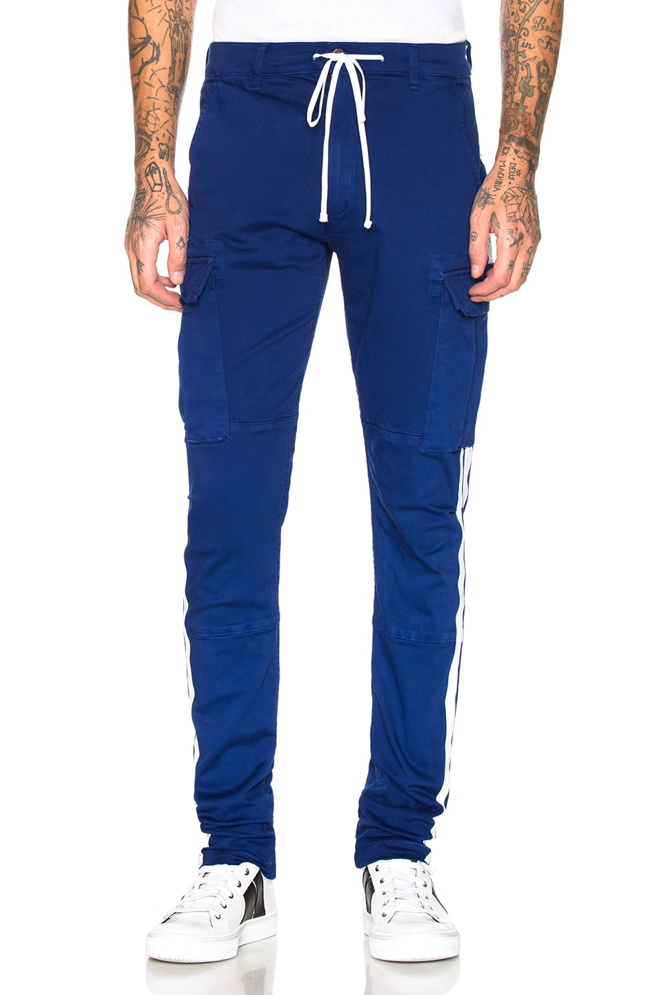 Image 2 of Amiri Stack Track Cargo Pants in Royal Blue