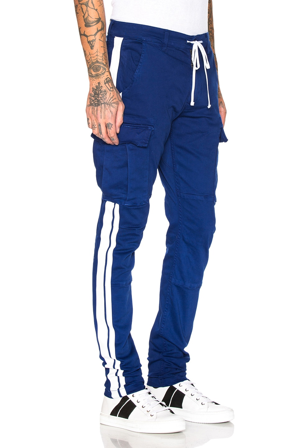 Image 3 of Amiri Stack Track Cargo Pants in Royal Blue