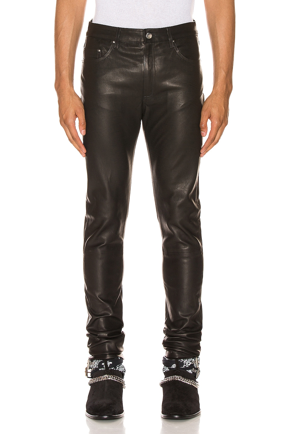Image 1 of Amiri 5 Pocket Leather Pant in Black