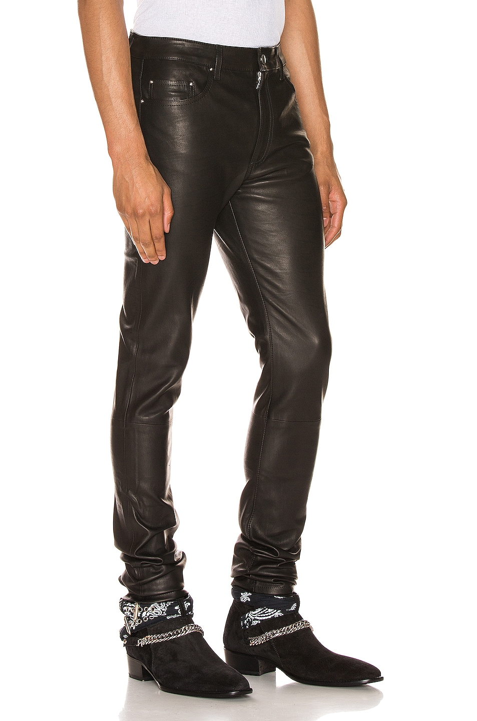Image 2 of Amiri 5 Pocket Leather Pant in Black