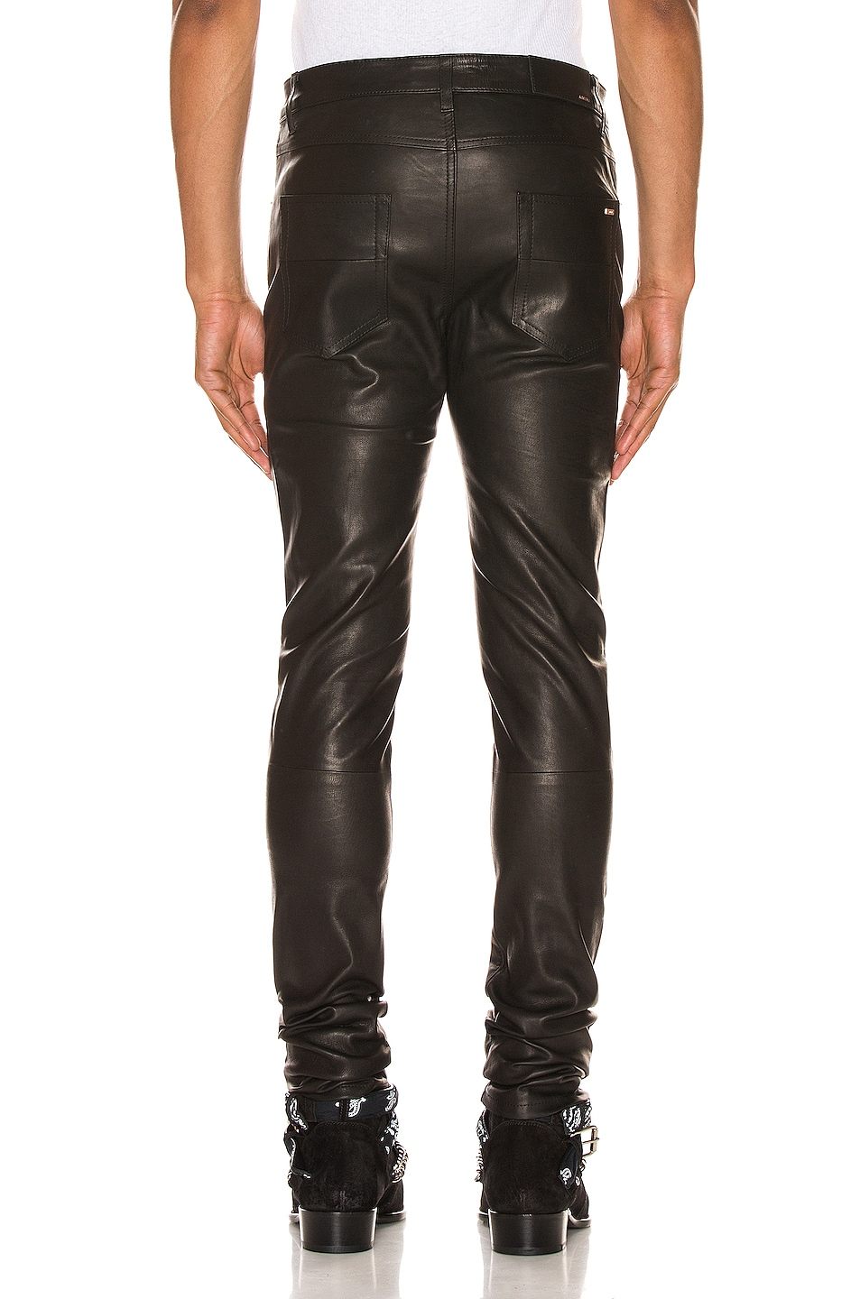 Image 3 of Amiri 5 Pocket Leather Pant in Black