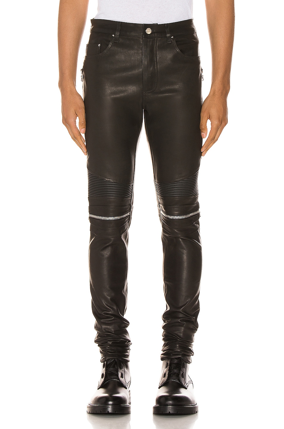 Image 1 of Amiri MX2 Leather Pants in Black & Silver