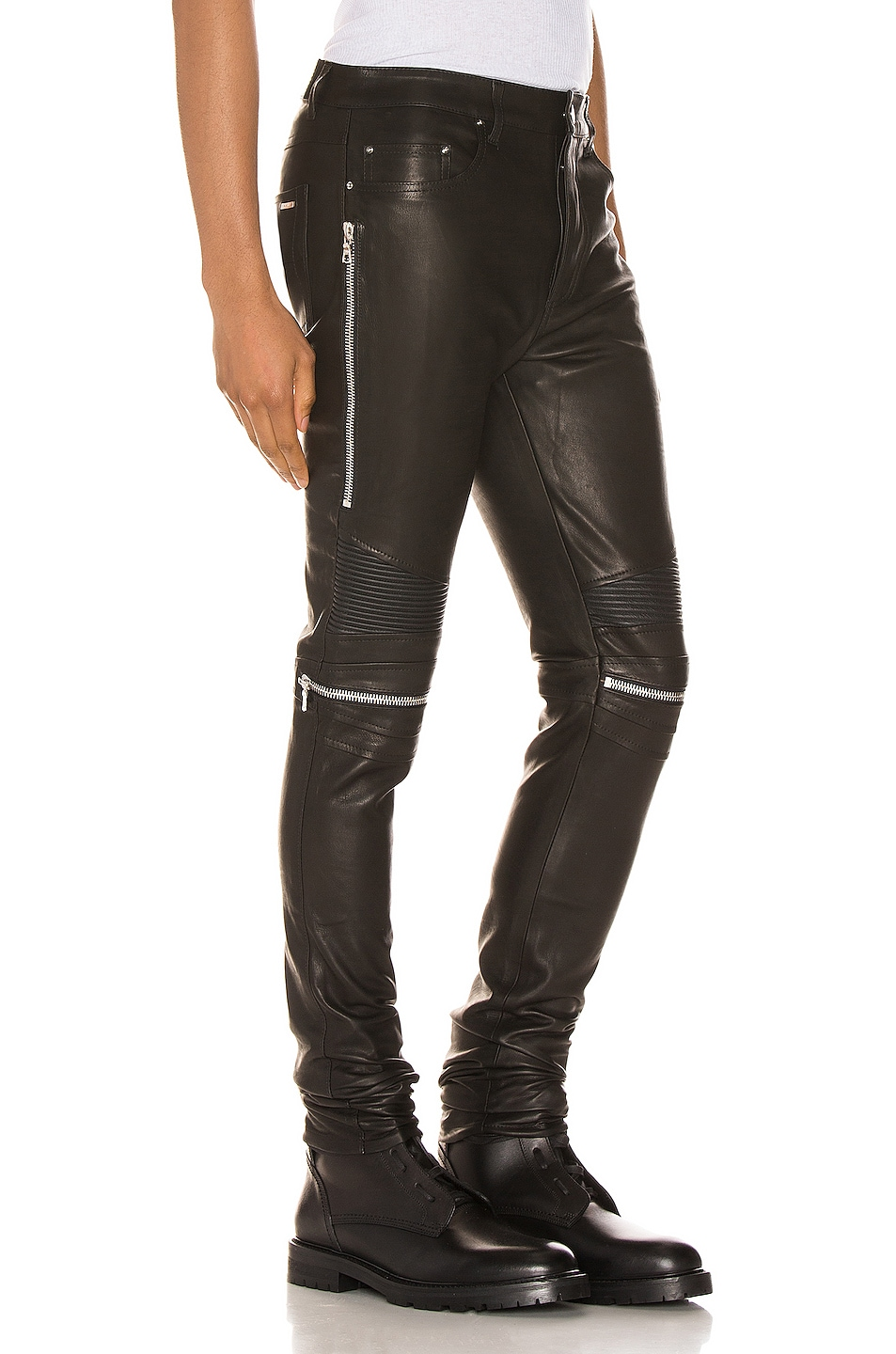 Image 2 of Amiri MX2 Leather Pants in Black & Silver