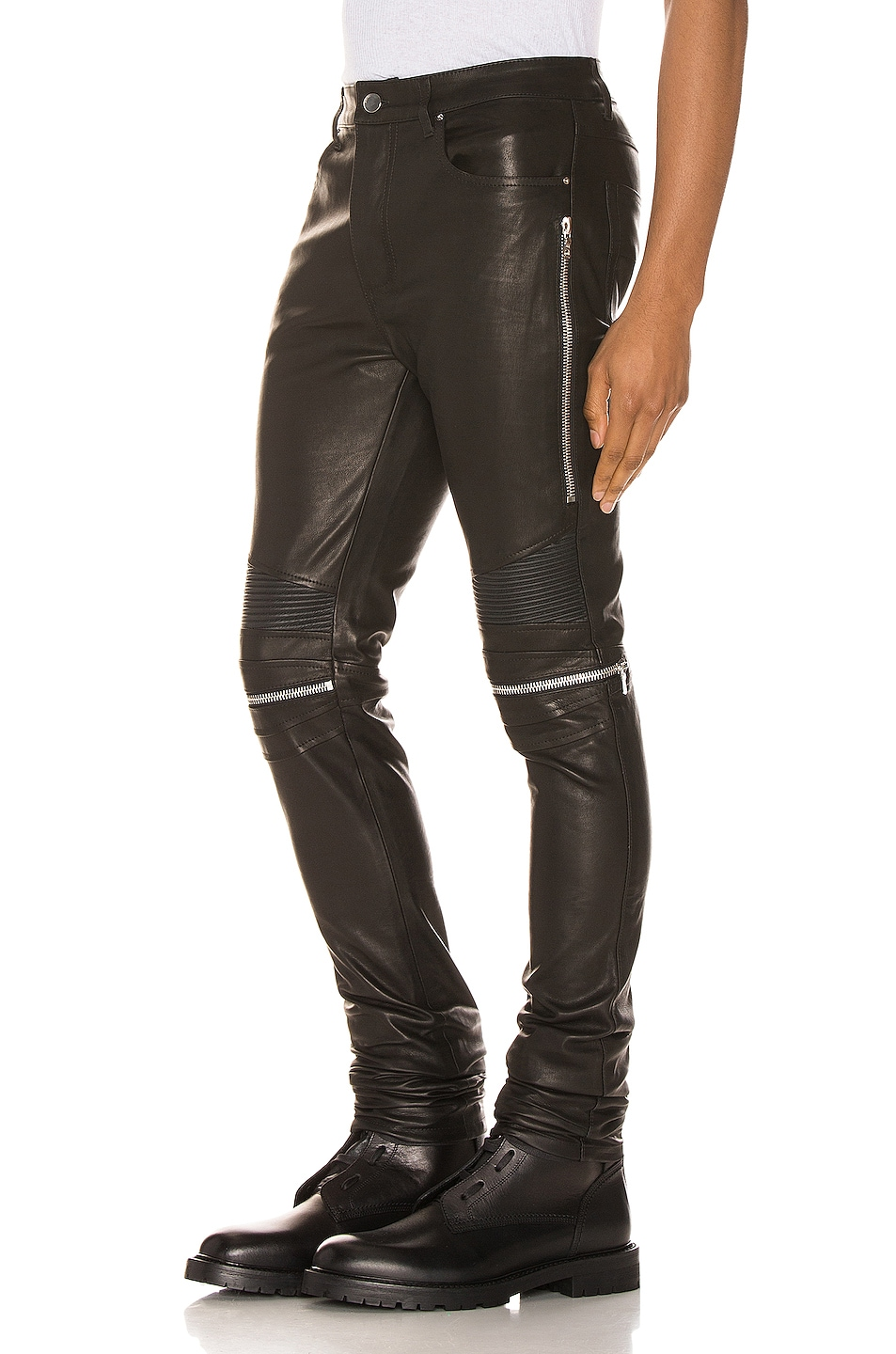 Image 3 of Amiri MX2 Leather Pants in Black & Silver