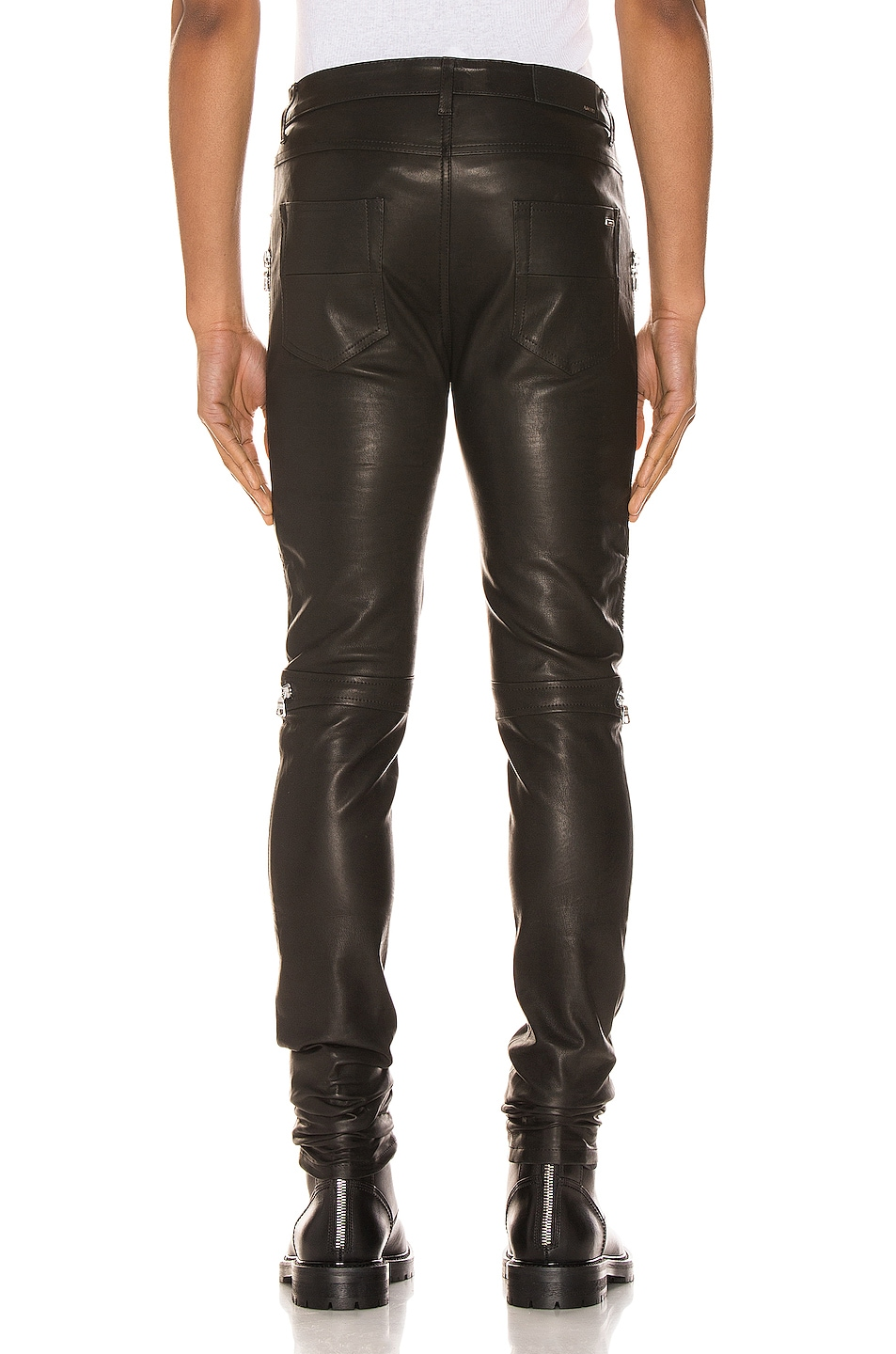 Image 4 of Amiri MX2 Leather Pants in Black & Silver