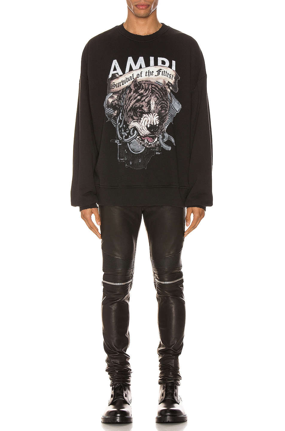 Image 5 of Amiri MX2 Leather Pants in Black & Silver
