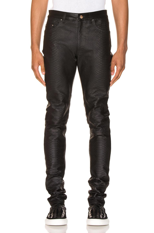 Image 1 of Amiri Half Printed Python Leather Pants in Black