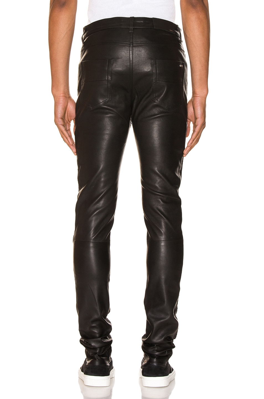Image 3 of Amiri Half Printed Python Leather Pants in Black