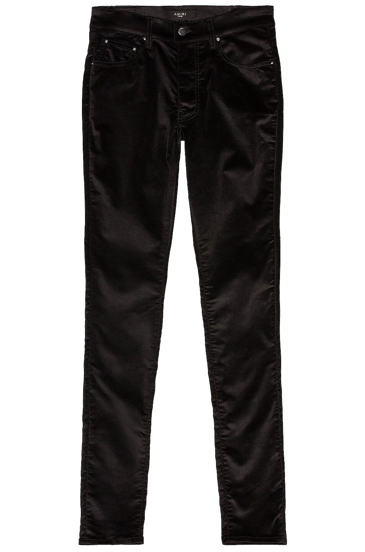 Image 1 of Amiri Skinny Stack Velvet Pant in Black