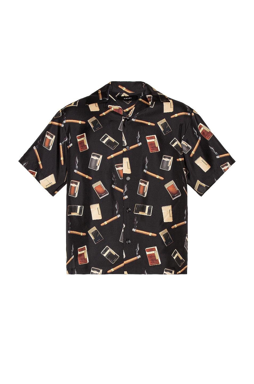 Image 1 of Amiri Dupont Falling Print Short Sleeves Shirt in Black