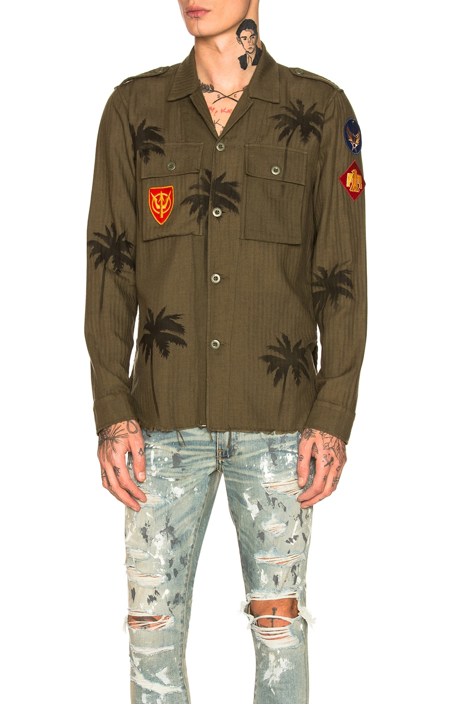 Image 1 of Amiri Palm Military Shirt in Olive