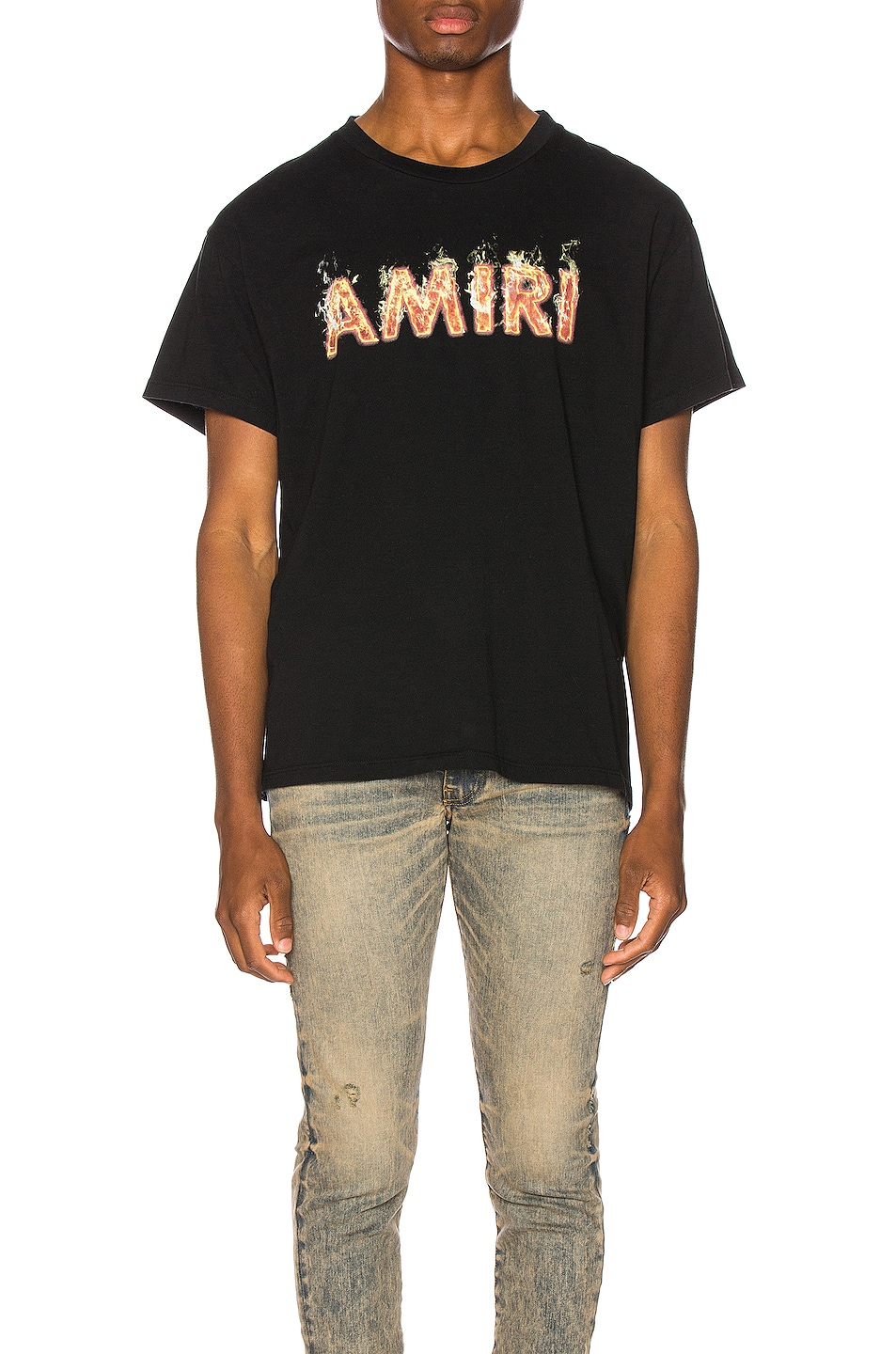 Image 1 of Amiri Flame Logo Tee in Tar