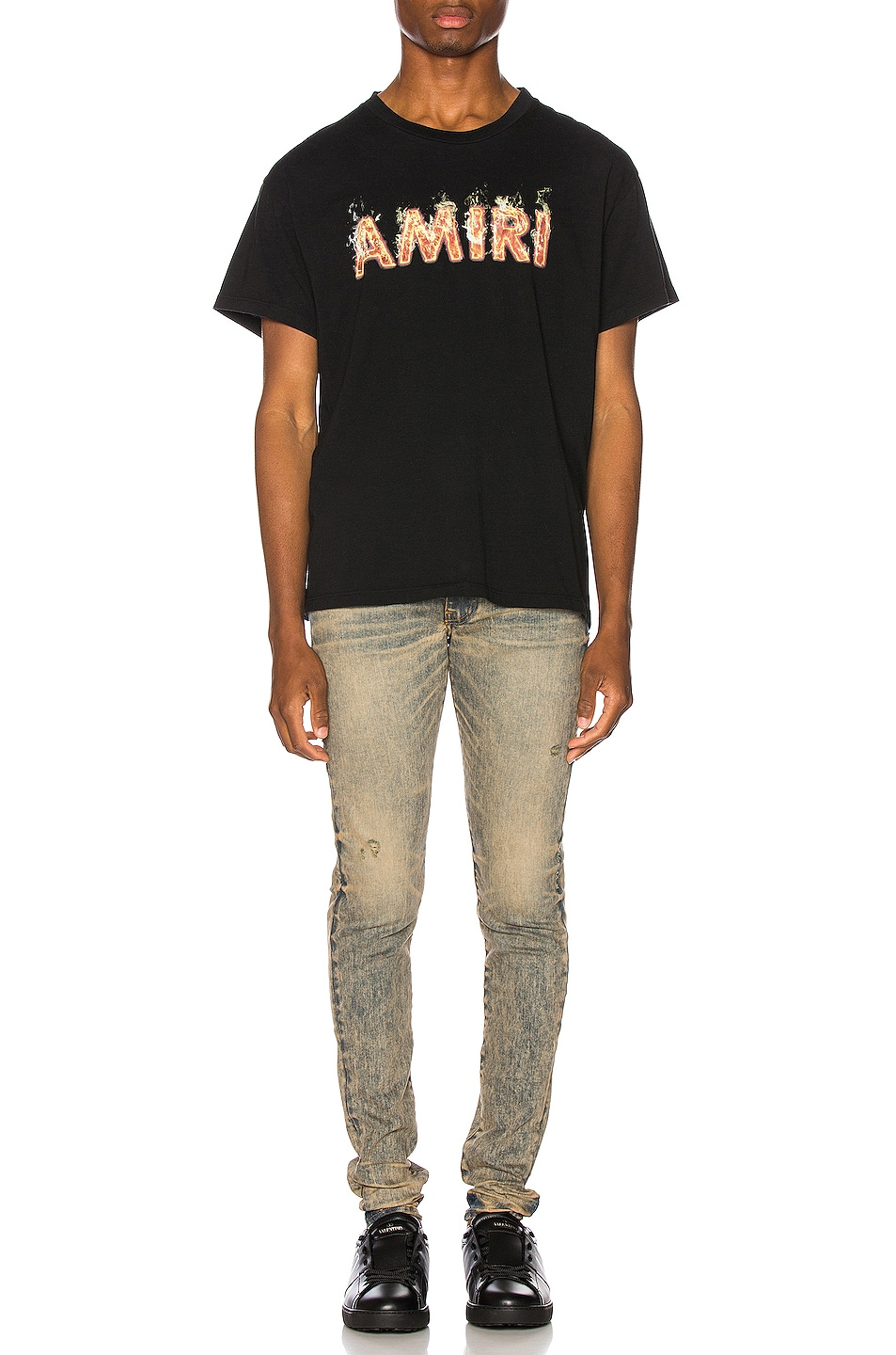 Image 4 of Amiri Flame Logo Tee in Tar