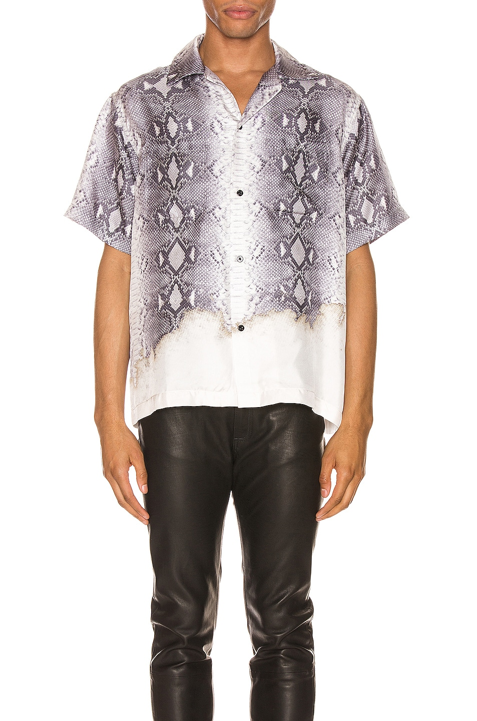 Image 1 of Amiri Python Short Sleeve Button Up in Grey