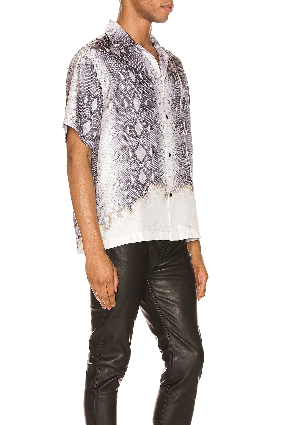 Image 2 of Amiri Python Short Sleeve Button Up in Grey