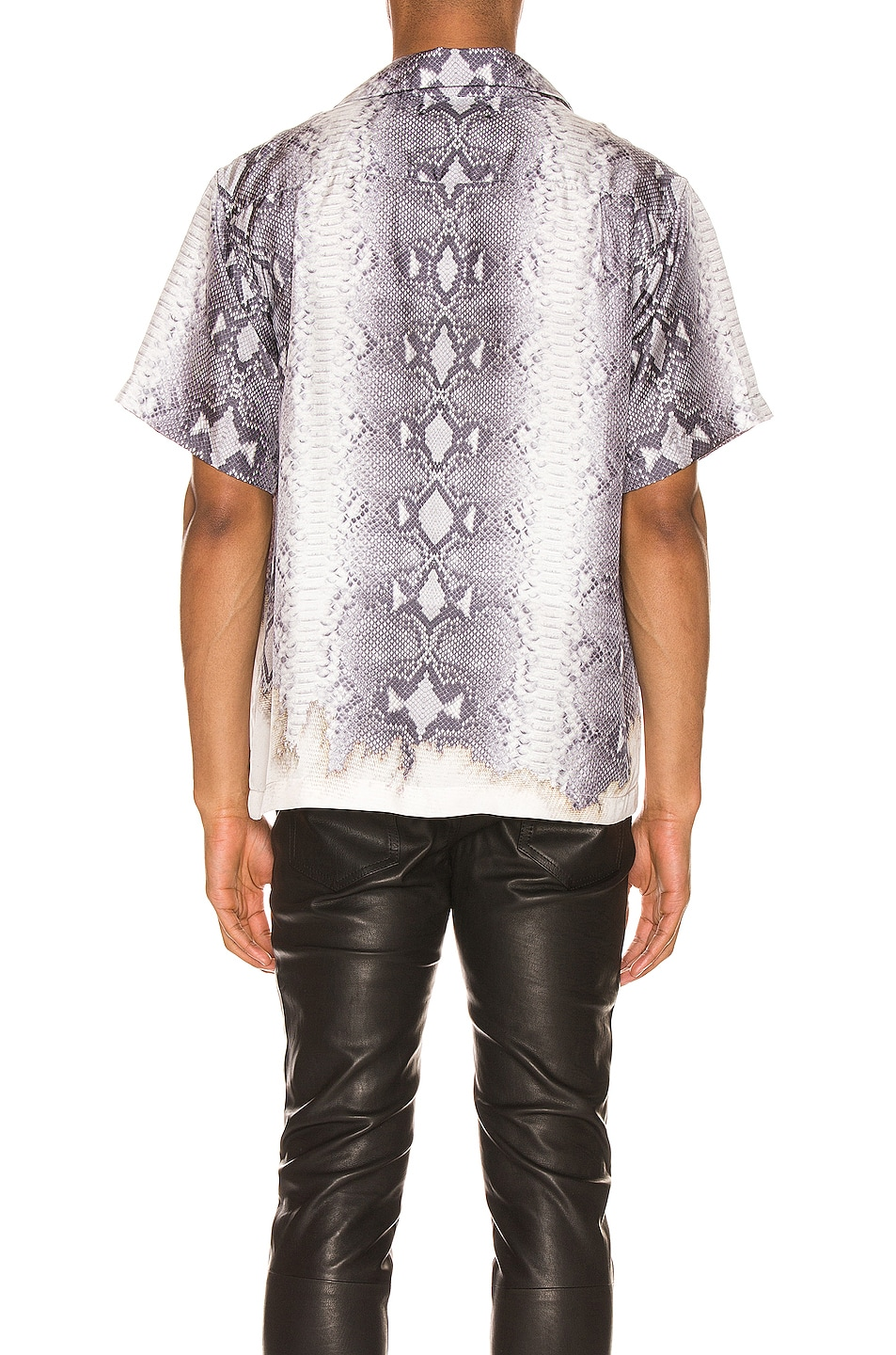 Image 3 of Amiri Python Short Sleeve Button Up in Grey