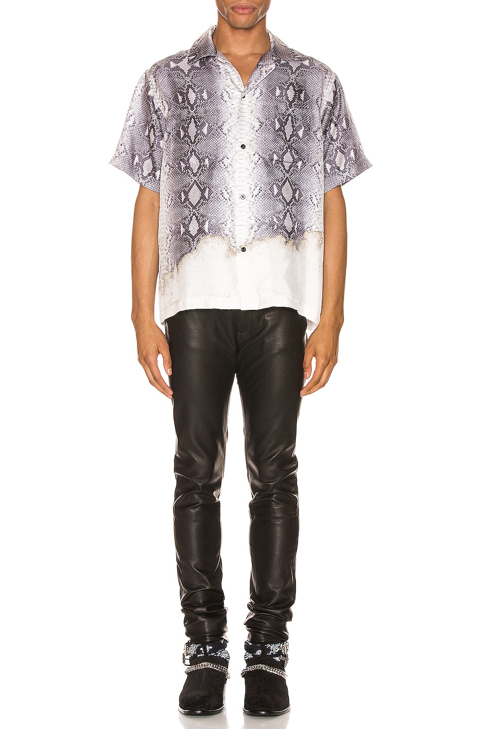Image 4 of Amiri Python Short Sleeve Button Up in Grey
