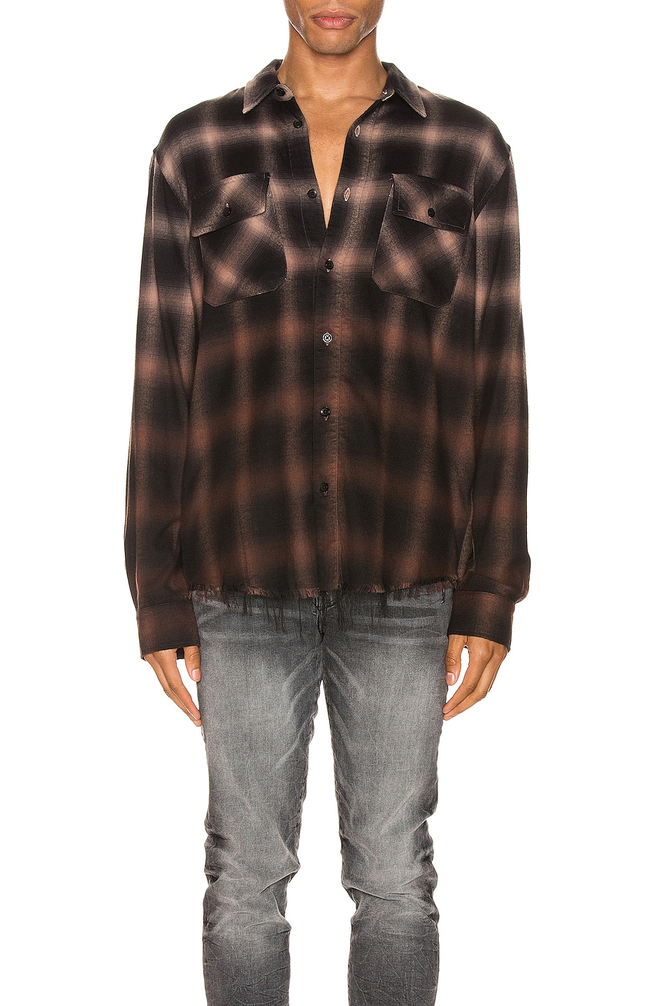 Image 1 of Amiri Ombre Plaid Shirt in Khaki