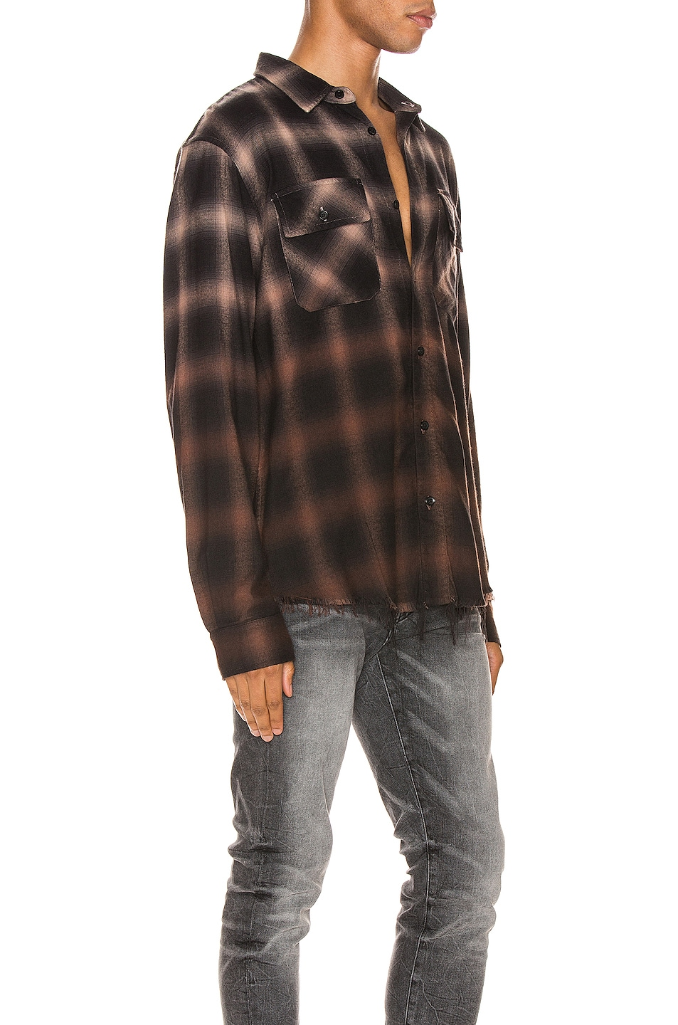 Image 2 of Amiri Ombre Plaid Shirt in Khaki