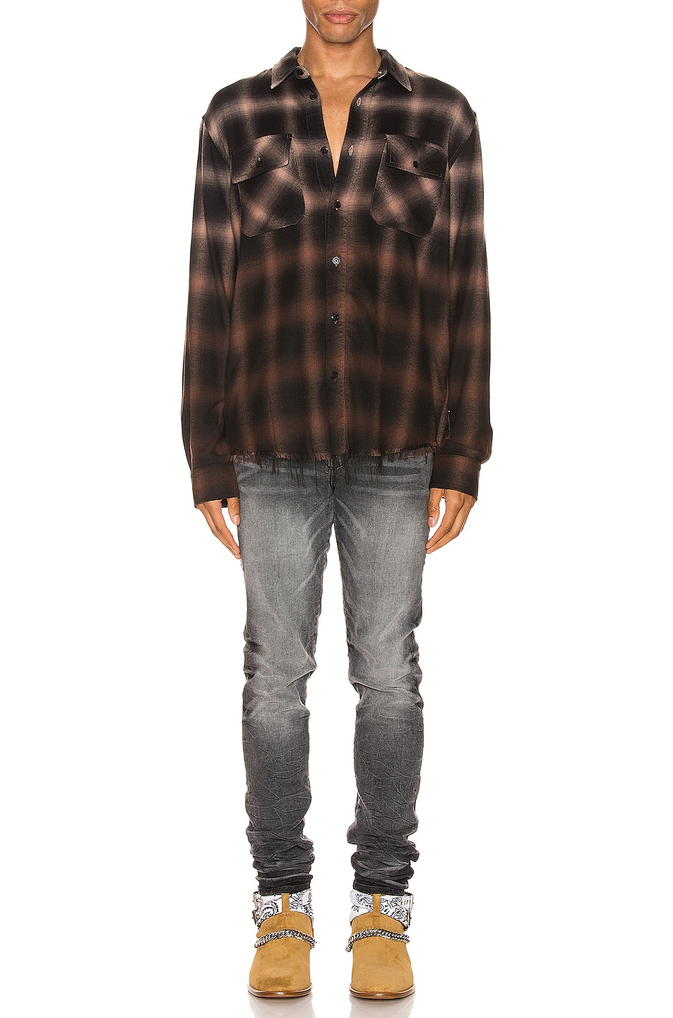 Image 4 of Amiri Ombre Plaid Shirt in Khaki