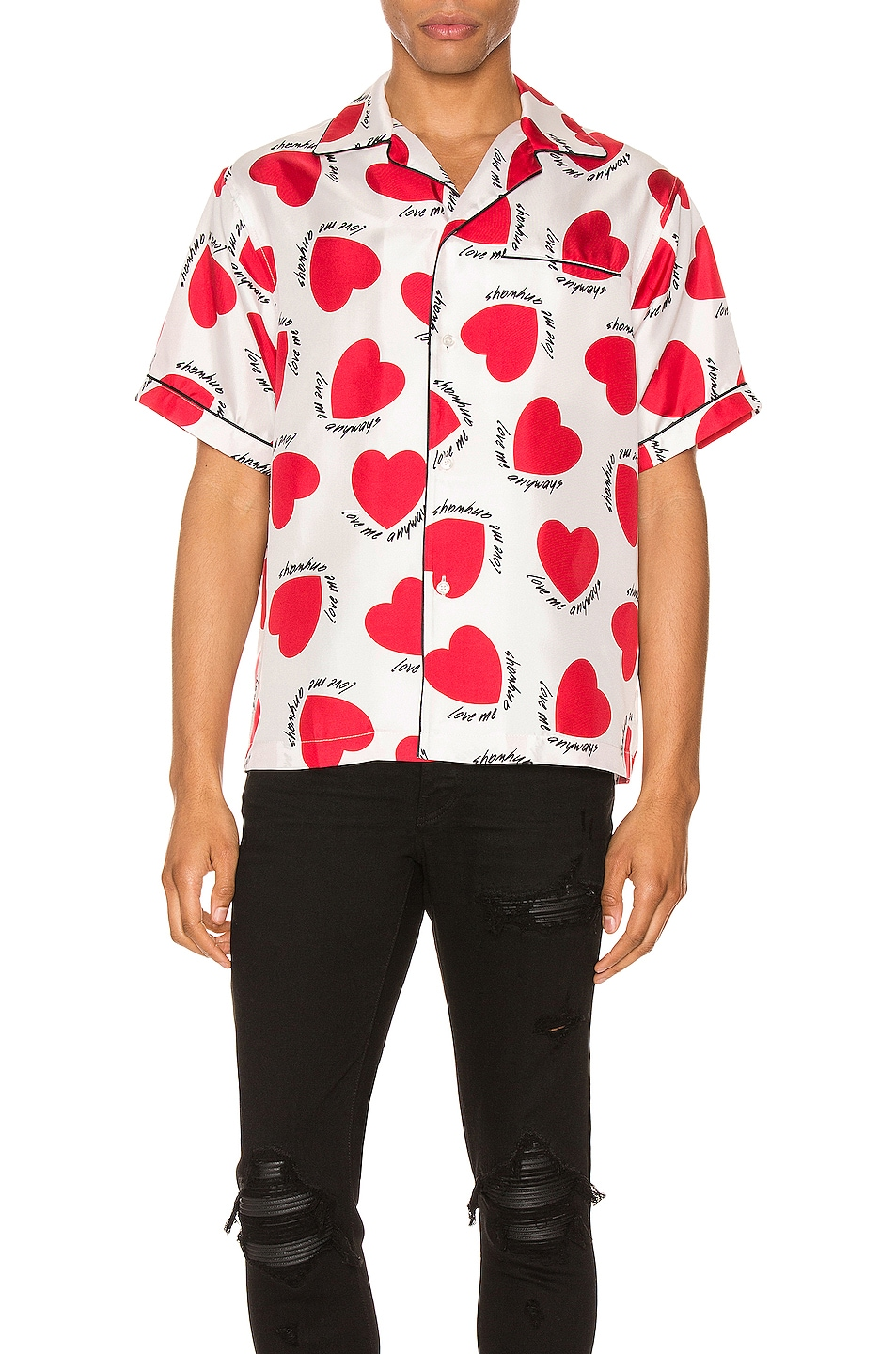 Image 1 of Amiri Hearts Pajama Shirt in White
