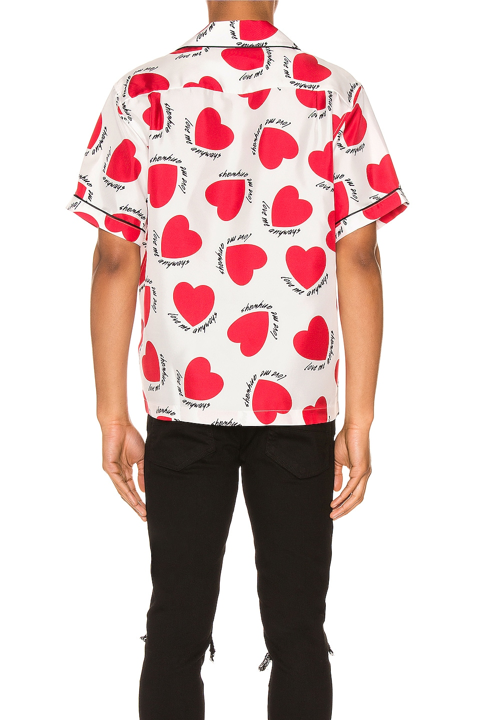 Image 3 of Amiri Hearts Pajama Shirt in White