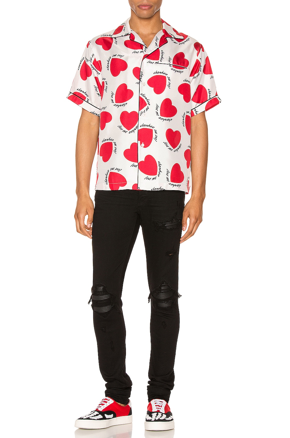 Image 4 of Amiri Hearts Pajama Shirt in White