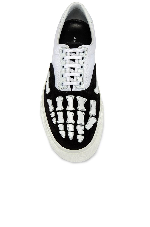 Image 4 of Amiri Skel Toe Lace Up Sneaker in Black & White
