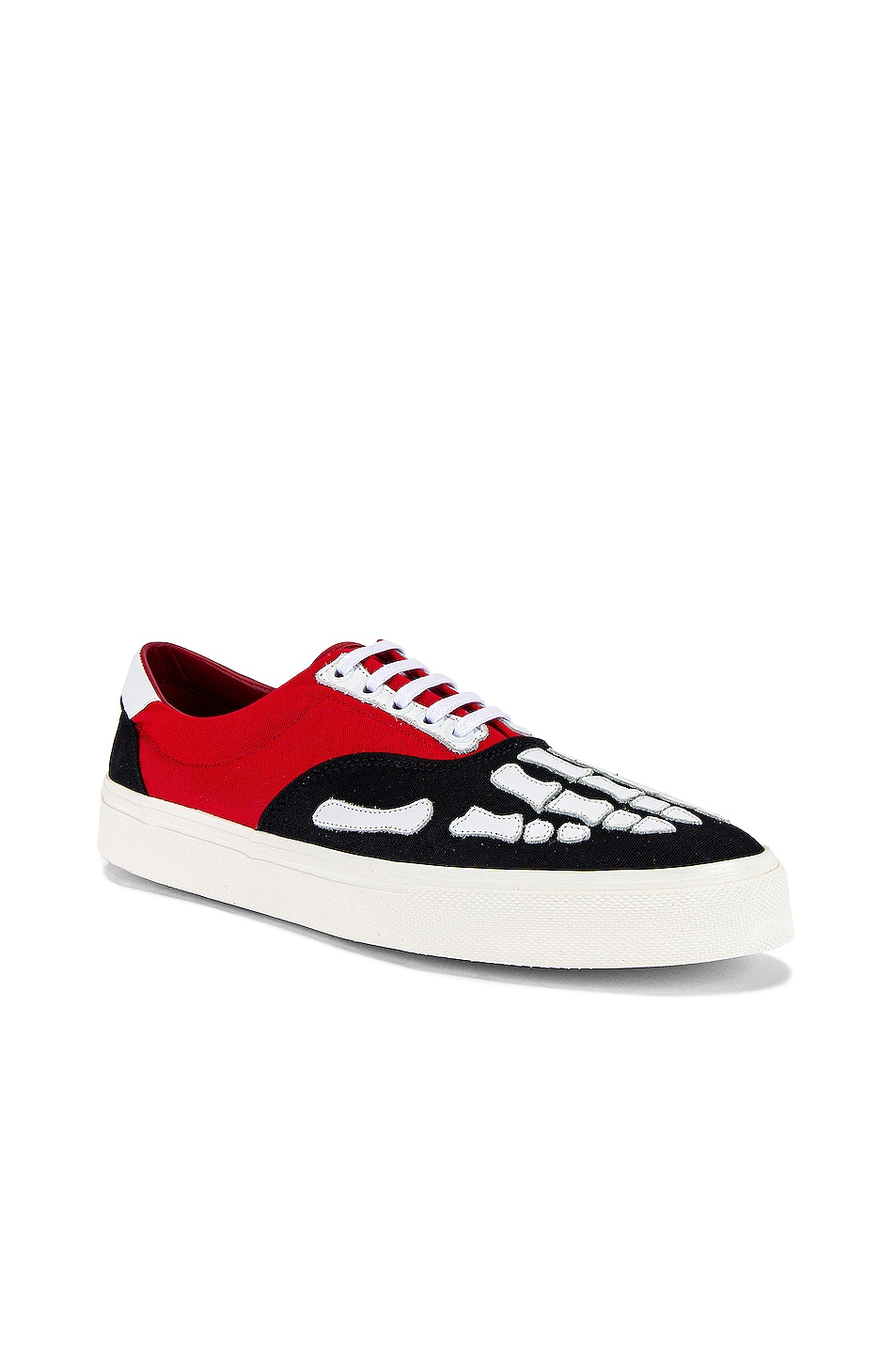 Image 1 of Amiri Skel Toe Lace Up Sneaker in Black & Red & White