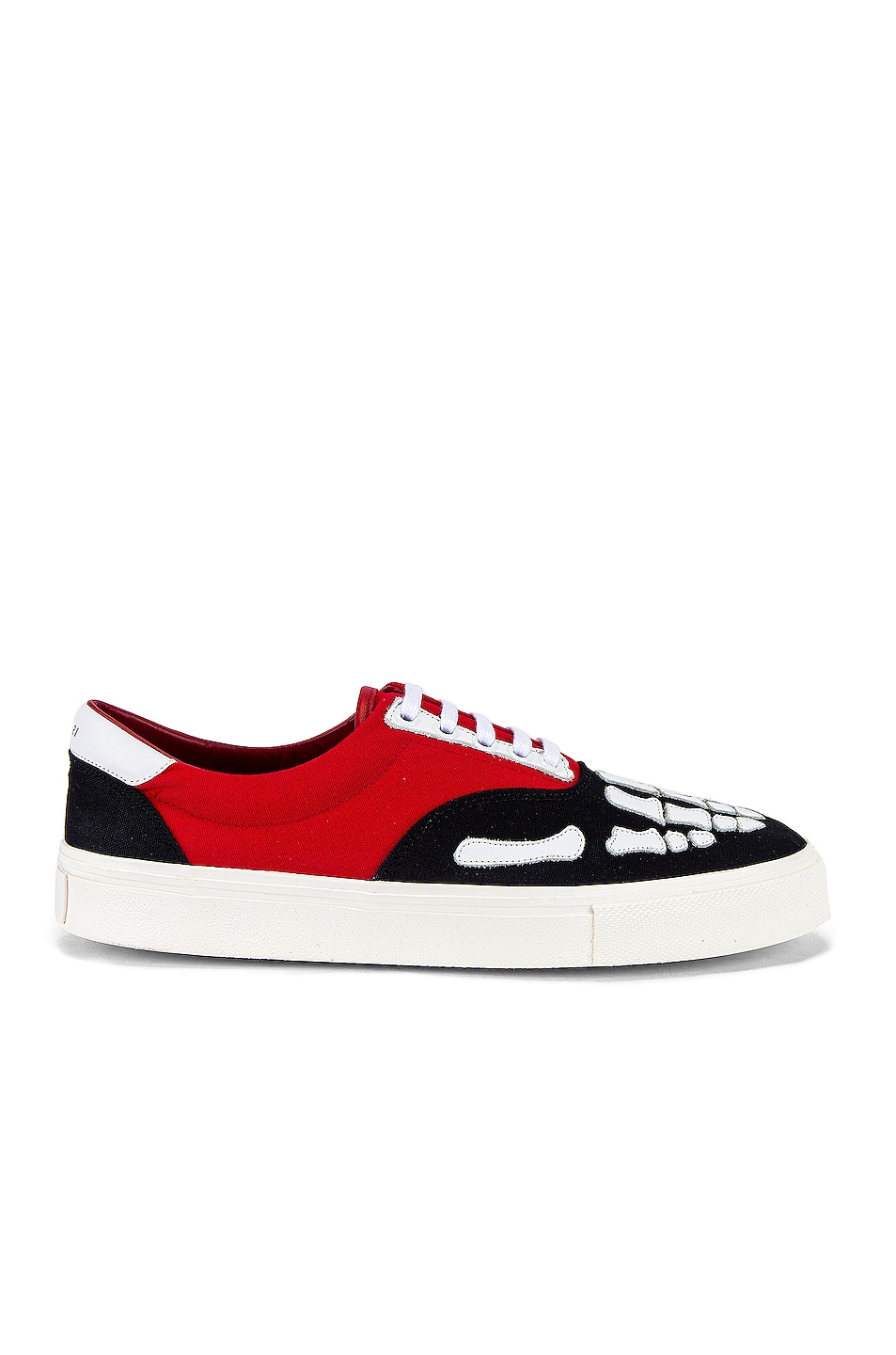 Image 2 of Amiri Skel Toe Lace Up Sneaker in Black & Red & White