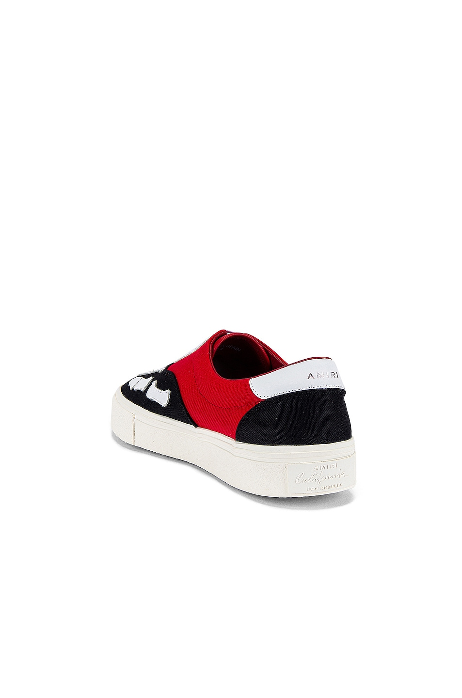 Image 3 of Amiri Skel Toe Lace Up Sneaker in Black & Red & White