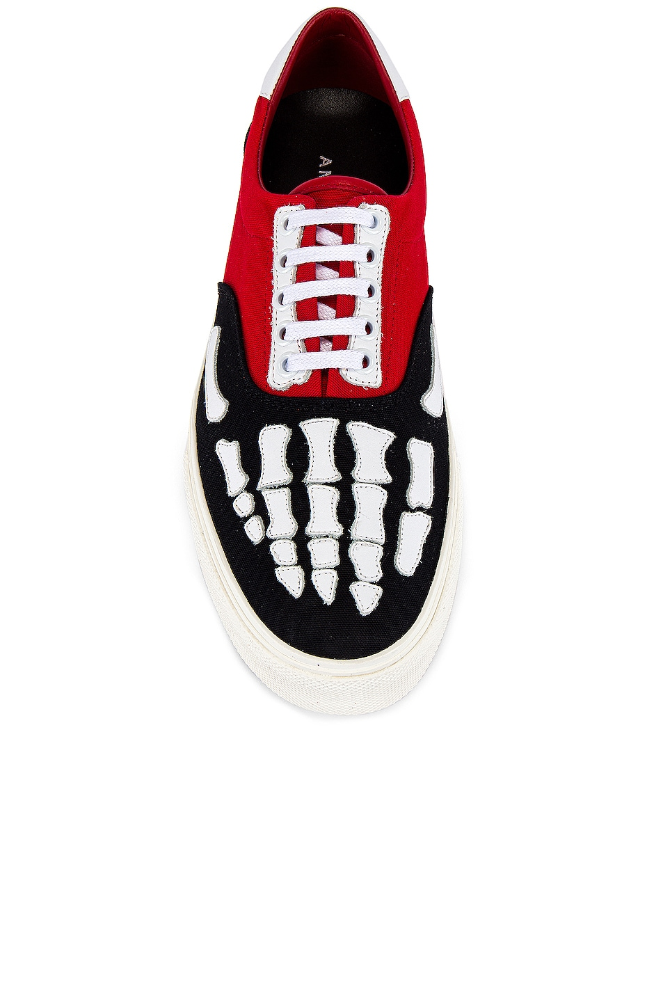 Image 4 of Amiri Skel Toe Lace Up Sneaker in Black & Red & White