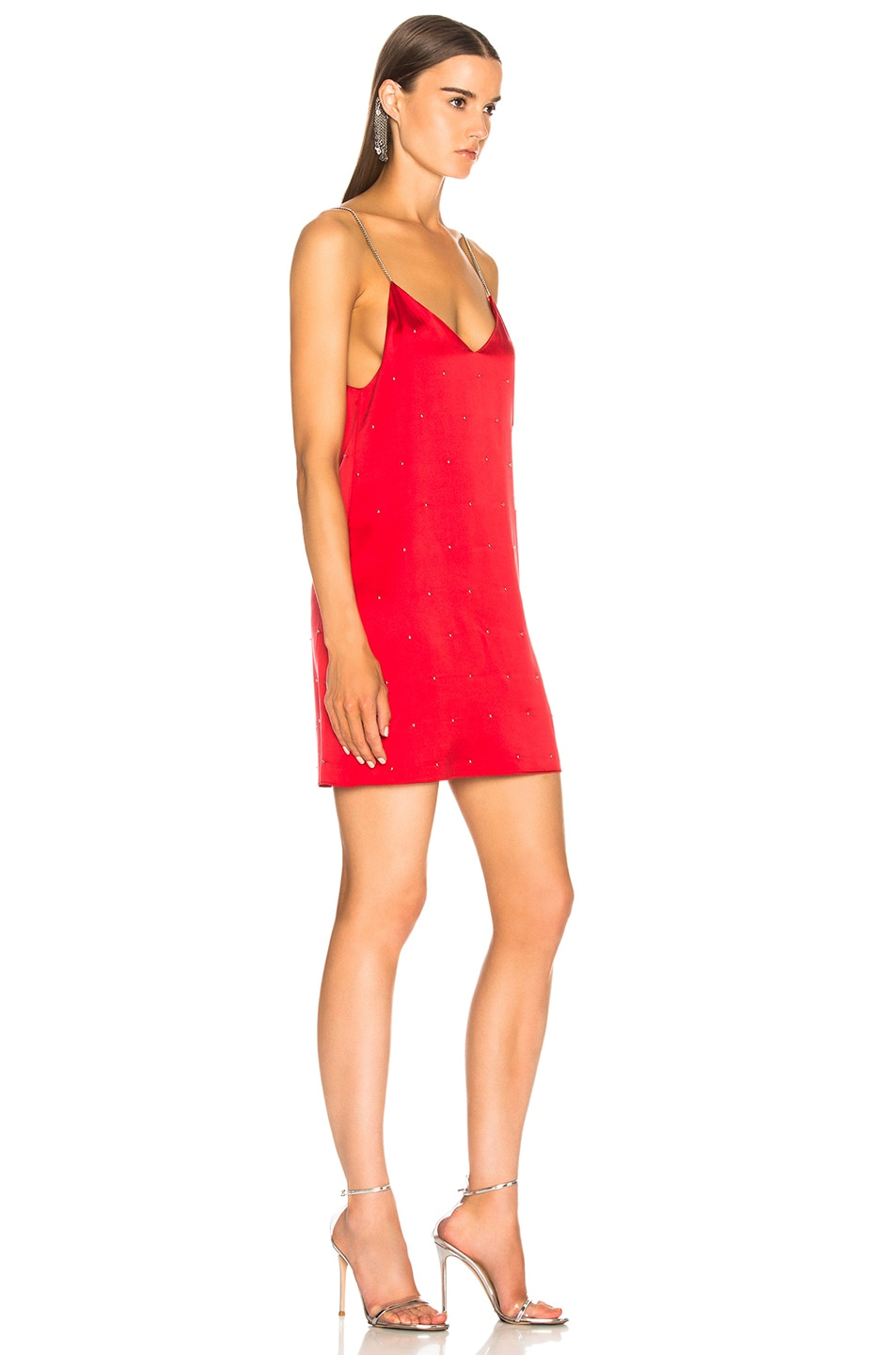 067bf2d5d3920 Image 2 of Amiri Silk Studded Slip Dress in Red
