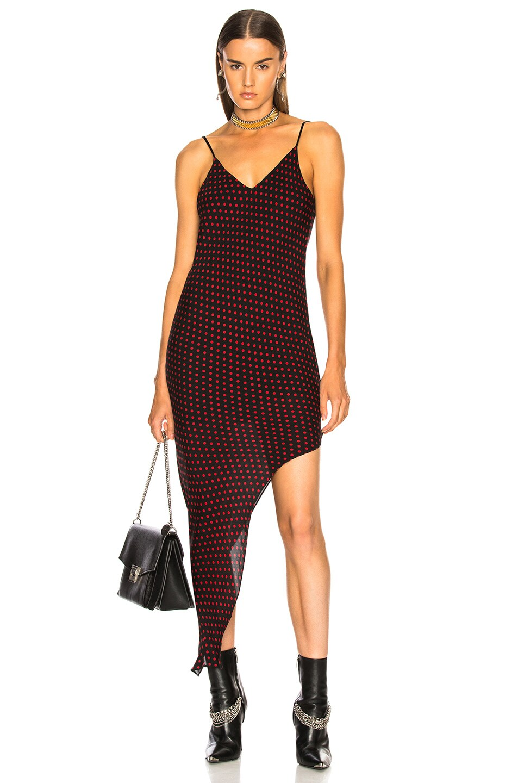 Image 1 of Amiri Asymmetrical Dot Silk Dress in Black & Red