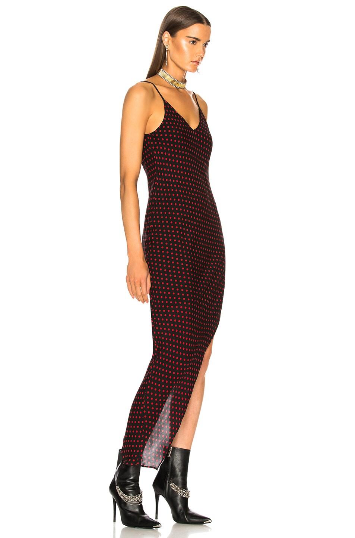 Image 2 of Amiri Asymmetrical Dot Silk Dress in Black & Red