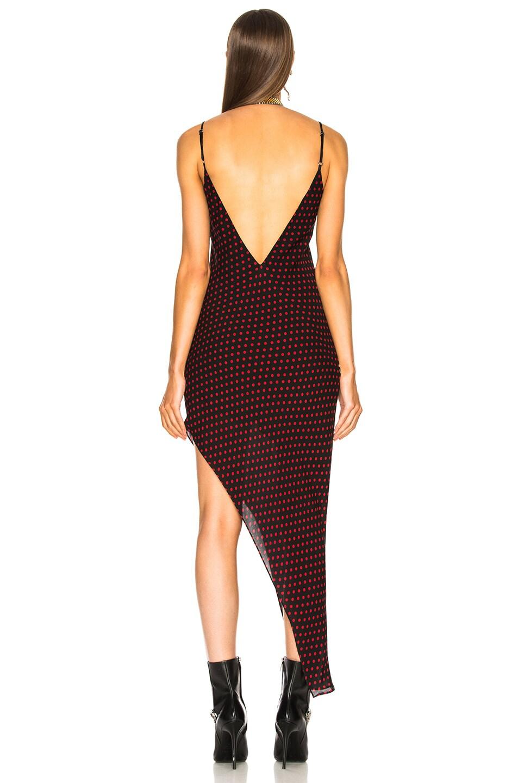Image 4 of Amiri Asymmetrical Dot Silk Dress in Black & Red