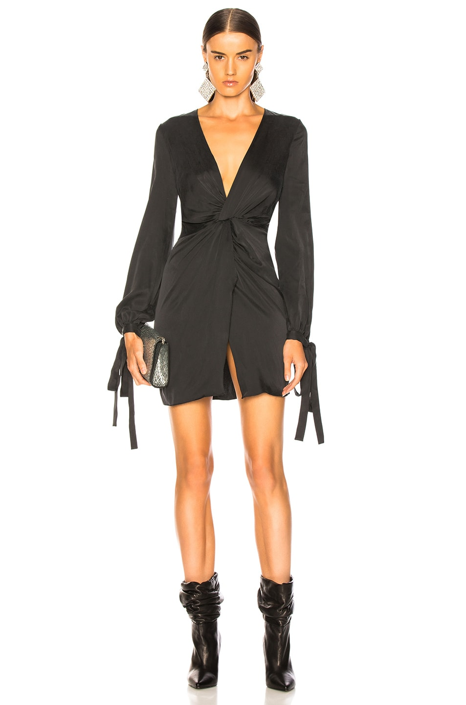 Image 1 of Amiri V Neck Short Dress in Black