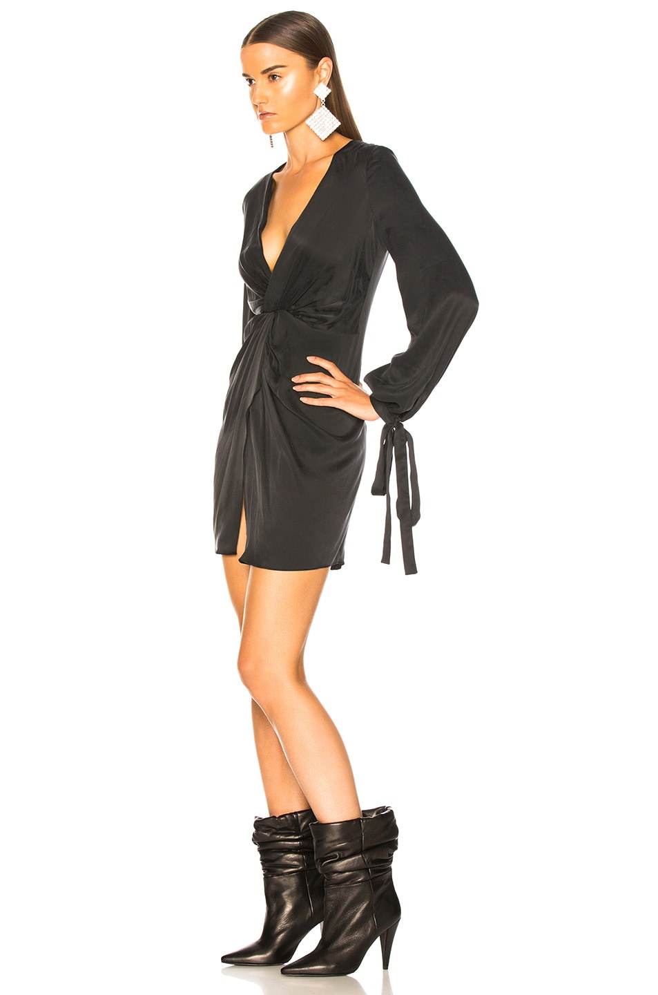 Image 3 of Amiri V Neck Short Dress in Black