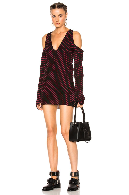 Amiri No Shoulder Long Sleeve Dress in Black,Geometric Print,Red