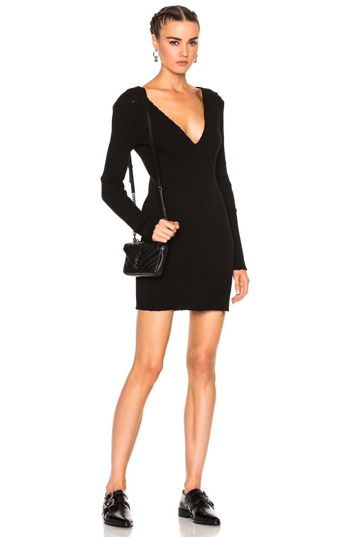 Amiri Long Sleeve Deep V Neck Rib Dress in Black