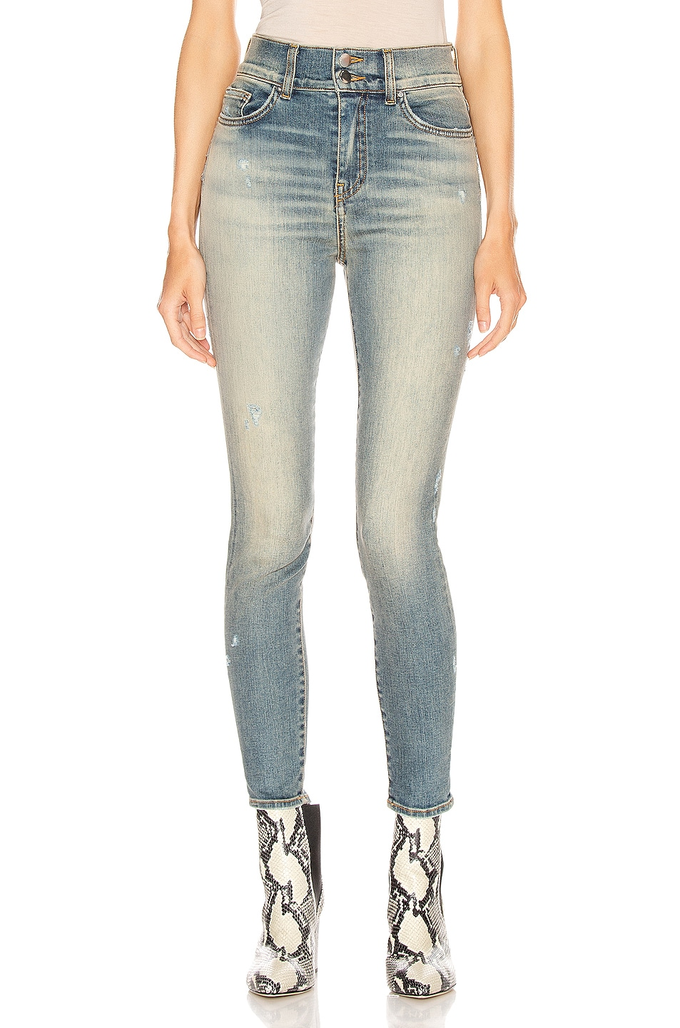 Image 1 of Amiri High Waisted Stack Skinny in Vintage Blue