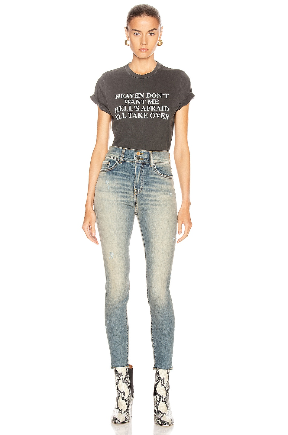 Image 4 of Amiri High Waisted Stack Skinny in Vintage Blue