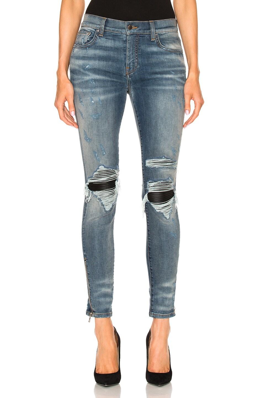 Amiri Mx1 Leather Patch Skinny In Denim Medium in Blue