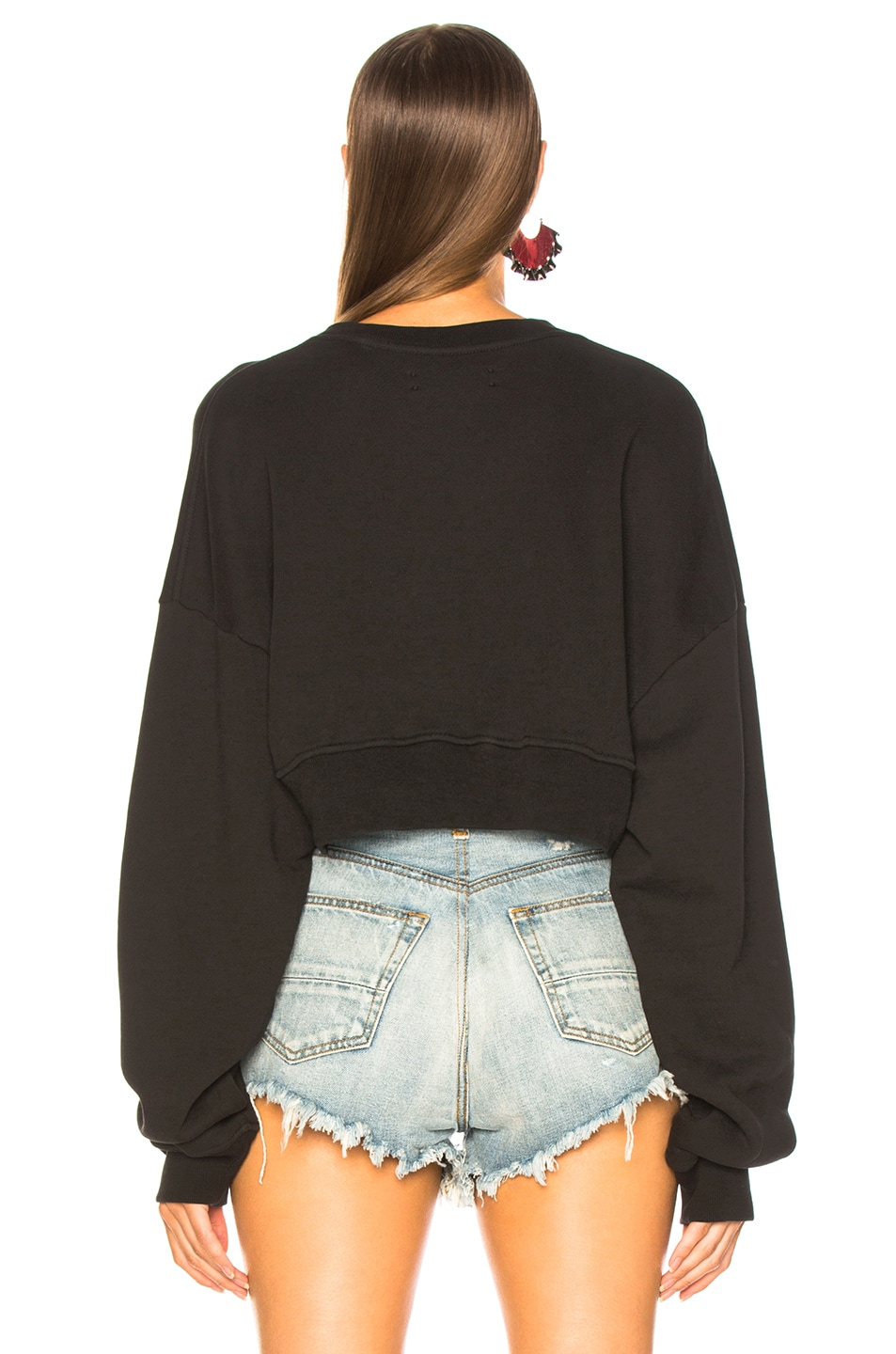 Image 3 of Amiri Kisses Cropped Crew Sweater in Black & White