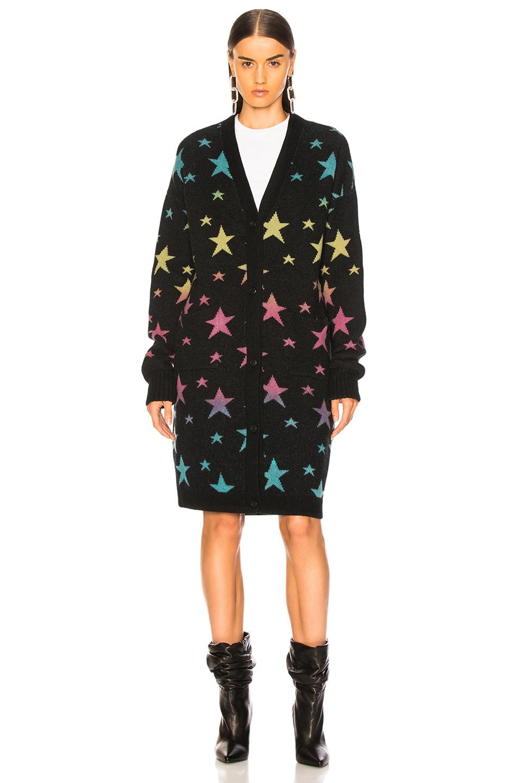 Image 2 of Amiri Star Long Cardigan in Black & Rainbow